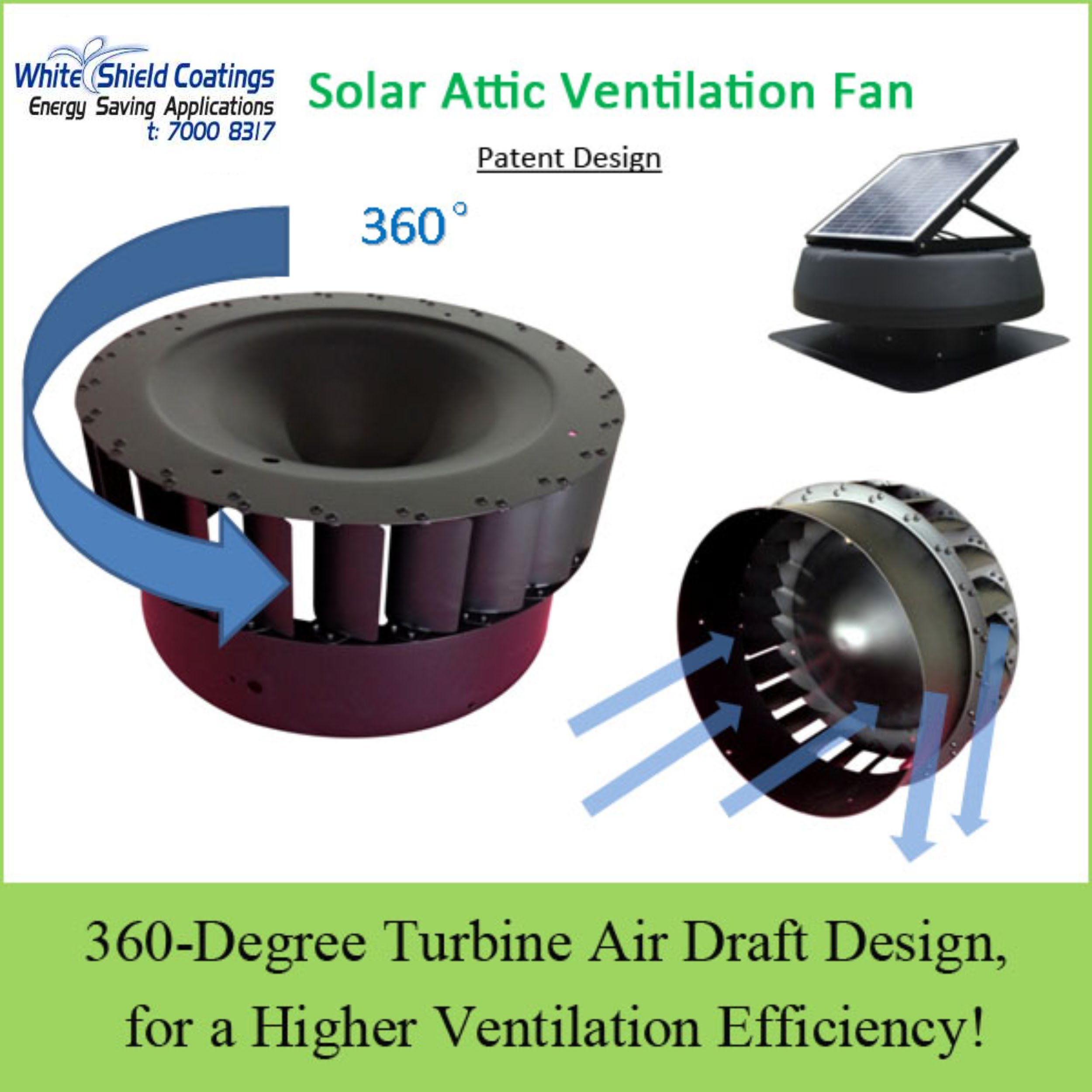 SOLAR ATTIC VENTILATION FAN - WHITE SHIELD COATINGS